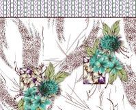 Bakgrundsdesign med blommor och gränsen Arkivbild