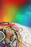 bakgrundsfärgtrådar Arkivfoto