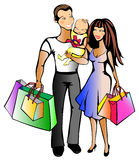bakgrundsfamilj som isoleras över shoppingwhite Arkivfoto