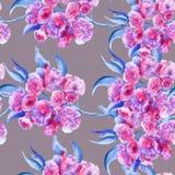 Bakgrundsfilial med Sakura blommor seamless modell Royaltyfria Bilder