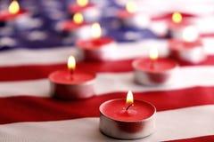 Bakgrundsflagga av Amerikas förenta stater för nationell federal ferieberöm och sörjande minnedag USA symbol Arkivbild