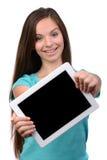 bakgrundsflicka över white för forstudiotonåring Arkivfoto