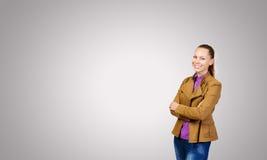 bakgrundsflicka över white för forstudiotonåring Royaltyfri Fotografi