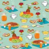 bakgrundsfrukostmat royaltyfri illustrationer