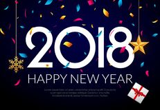 Bakgrundsgarnering 2018 för lyckligt nytt år Konfettier för mall 2018 för hälsningkortdesign Ferie av 2018 år royaltyfri illustrationer