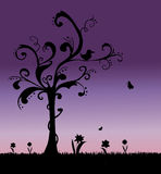 bakgrundsgrässilhouettes Royaltyfri Fotografi