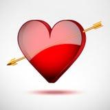 Bakgrundshjärta och pil. Valentindagkort. Arkivbilder