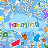 Bakgrundsillustratioen på temat av lantgården och våren färgade enkla symbolsklistermärkear på en blå bakgrund och inskriften Arkivbild