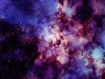 Bakgrundsillustration av den färgrika nebulosan och stjärnor i djupt utrymme Royaltyfri Illustrationer