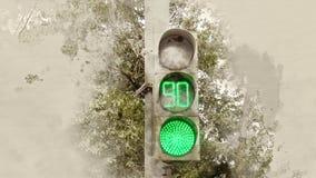 bakgrundsillustrationen isolerade ljus white för trafikvariantsvektor grön signalering royaltyfri fotografi