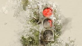 bakgrundsillustrationen isolerade ljus white för trafikvariantsvektor röd signalering arkivbilder