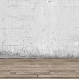 Bakgrundsinre: betongvägg- och trägolv Royaltyfri Fotografi