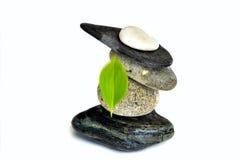 bakgrundsjämvikt balanserade färgade close upp fyra stenar för greypebblesten Royaltyfria Bilder