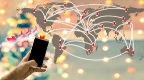 bakgrundsjulen stänger upp röd tid Jul över hela världen vid din hand Du kan överföra G Royaltyfri Fotografi