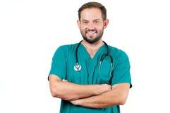 bakgrundskameradoktorn isolerade att se male s-stetoskopwhite Sjukvård Fotografering för Bildbyråer