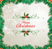 bakgrundskanten boxes vita guld- isolerade band för julgåvan Arkivbild