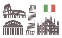 bakgrundskantlandet detailed för den italy för flaggor symboler isolerad white för form regionen set Isolerad Italien arkitektur  vektor illustrationer