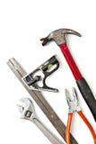 bakgrundskonstruktion tools white Royaltyfri Fotografi