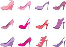 bakgrundskvinnlign shoes white Royaltyfria Bilder