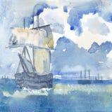 Bakgrundslandskap med skeppet Stock Illustrationer