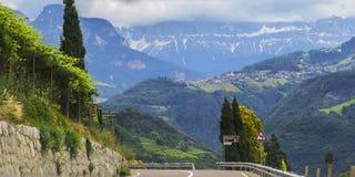 Bakgrundslandskapsikt av druvafält och den alpina byn i avståndet bland bergen Arkivbild