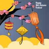 Bakgrundsmåne av den lyckliga mitt- höstfestivalen stock illustrationer