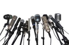 bakgrundsmikrofoner över white Royaltyfri Foto