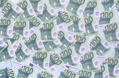 Bakgrundsmodell av en uppsättning av gröna monetära valörer av 1 Royaltyfri Fotografi
