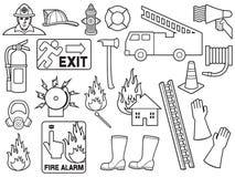 Bakgrundsmodell med brandmansymboler royaltyfri illustrationer