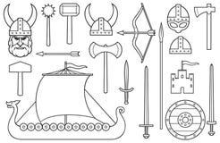 Bakgrundsmodell med viking den tunna linjen symboler arkivbilder