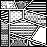 Bakgrundsmonokromabstrakt begrepp i popkonst med linjer royaltyfri illustrationer