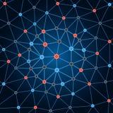 Bakgrundsnätverk Bakgrund cirklar prickar och linjer arkivfoto
