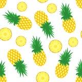 bakgrundspeelananas enkelt Nya ananors och skivor av ananors på vit bakgrund modell för tropisk frukt vektor Arkivbild