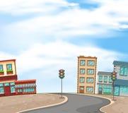 Bakgrundsplats med byggnader och den tomma vägen av staden vektor illustrationer