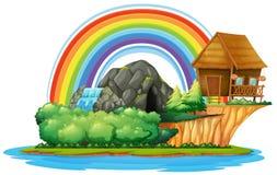 Bakgrundsplats med den träkojan och vattenfallet på ön royaltyfri illustrationer