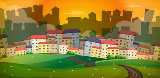 Bakgrundsplats med många hus i by stock illustrationer