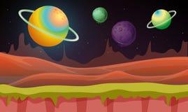 Bakgrundsplats med många planeter i galax vektor illustrationer