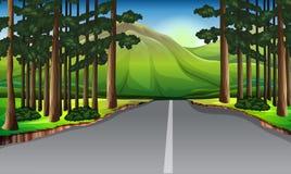 Bakgrundsplats med träd längs vägen stock illustrationer
