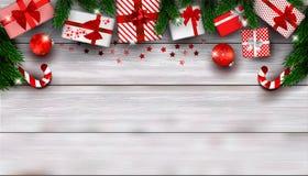 Bakgrundssammansättning för nytt år eller julmed tomt utrymme för text royaltyfri illustrationer