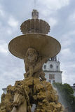 Bakgrundssikt av ett fragment med en häst av den berömda springbrunnen i Salzburg Royaltyfri Foto
