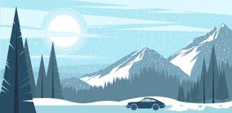 Bakgrundssikt av frostiga berg för en vinter stock illustrationer