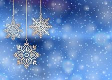 Bakgrundssnöflingor för glad jul Royaltyfri Foto