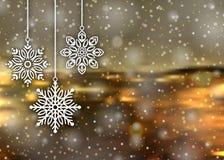 Bakgrundssnöflingor för glad jul Royaltyfri Fotografi