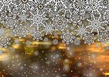 Bakgrundssnöflingor för glad jul Fotografering för Bildbyråer