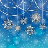 Bakgrundssnöflingor för glad jul Arkivfoto
