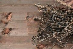 Bakgrundstappningstil med torra blommor Arkivfoto