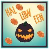 bakgrundstecken halloween som isoleras över affischen Pumplin Royaltyfri Fotografi