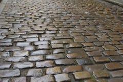 Bakgrundstextur av den gamla våta coblestonevägen Royaltyfri Foto