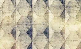 Bakgrundstextur av det gamla grå färgbetongstaketet med fyrkantigt smattrande Royaltyfri Bild