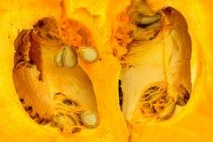 Bakgrundstextur av inom av apelsinen kärnade ur pumpa Royaltyfri Bild